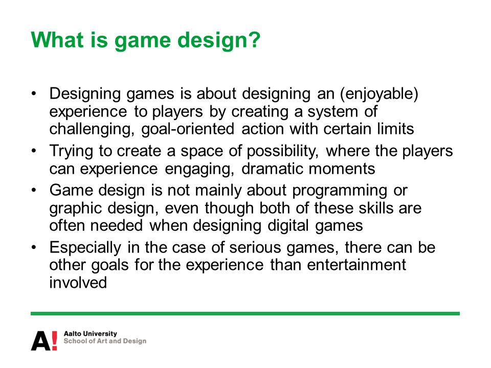 What is game design.