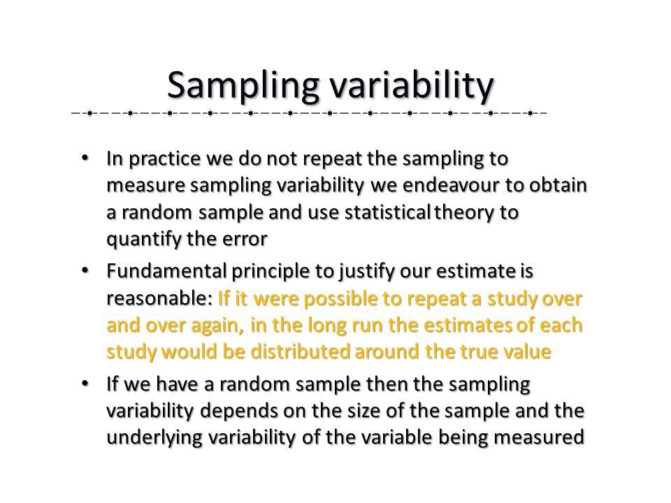 In practice we do not repeat the sampling to measure sampling variability we endeavour to obtain a random sample and use statistical theory to quantify the error In practice we do not repeat the sampling to measure sampling variability we endeavour to obtain a random sample and use statistical theory to quantify the error Fundamental principle to justify our estimate is reasonable: If it were possible to repeat a study over and over again, in the long run the estimates of each study would be distributed around the true value Fundamental principle to justify our estimate is reasonable: If it were possible to repeat a study over and over again, in the long run the estimates of each study would be distributed around the true value If we have a random sample then the sampling variability depends on the size of the sample and the underlying variability of the variable being measured If we have a random sample then the sampling variability depends on the size of the sample and the underlying variability of the variable being measured Sampling variability