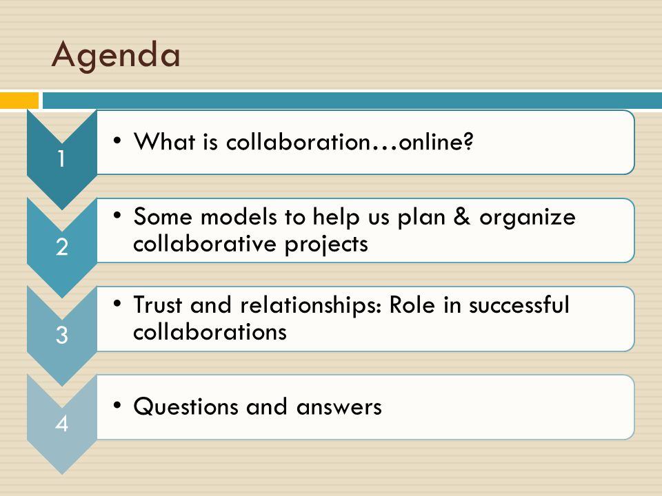 Agenda 1 What is collaboration…online.
