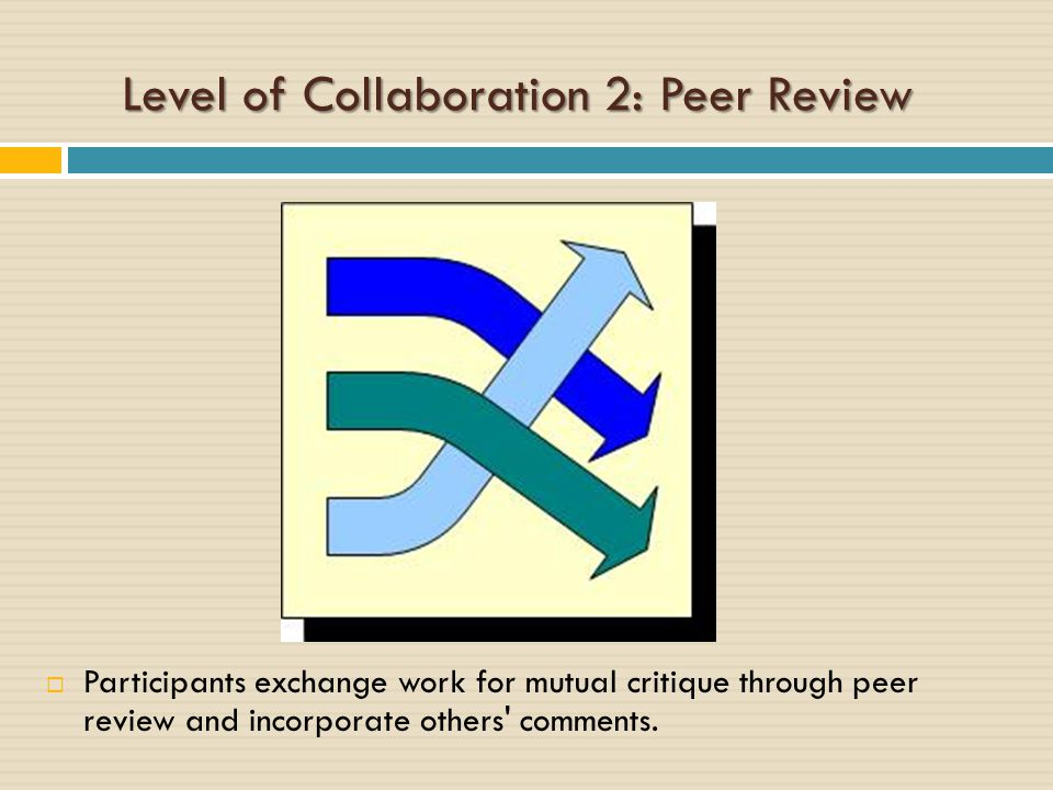 Level of Collaboration 3: Parallel  Participants each complete a component of the project.