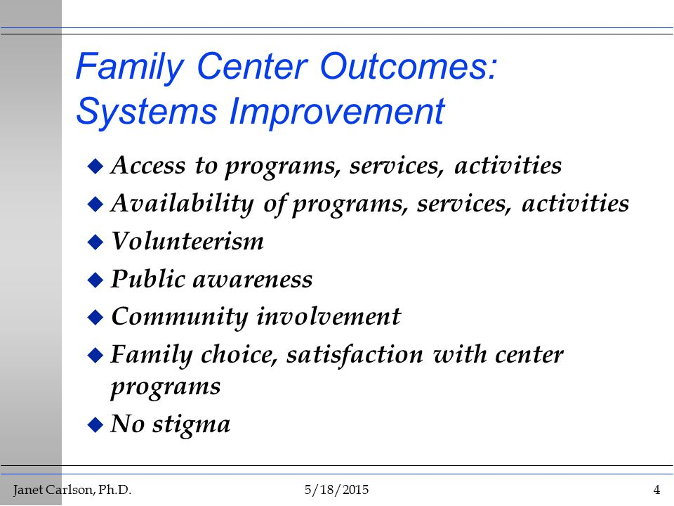Janet Carlson, Ph.D.5/18/20154 Family Center Outcomes: Systems Improvement u Access to programs, services, activities u Availability of programs, services, activities u Volunteerism u Public awareness u Community involvement u Family choice, satisfaction with center programs u No stigma
