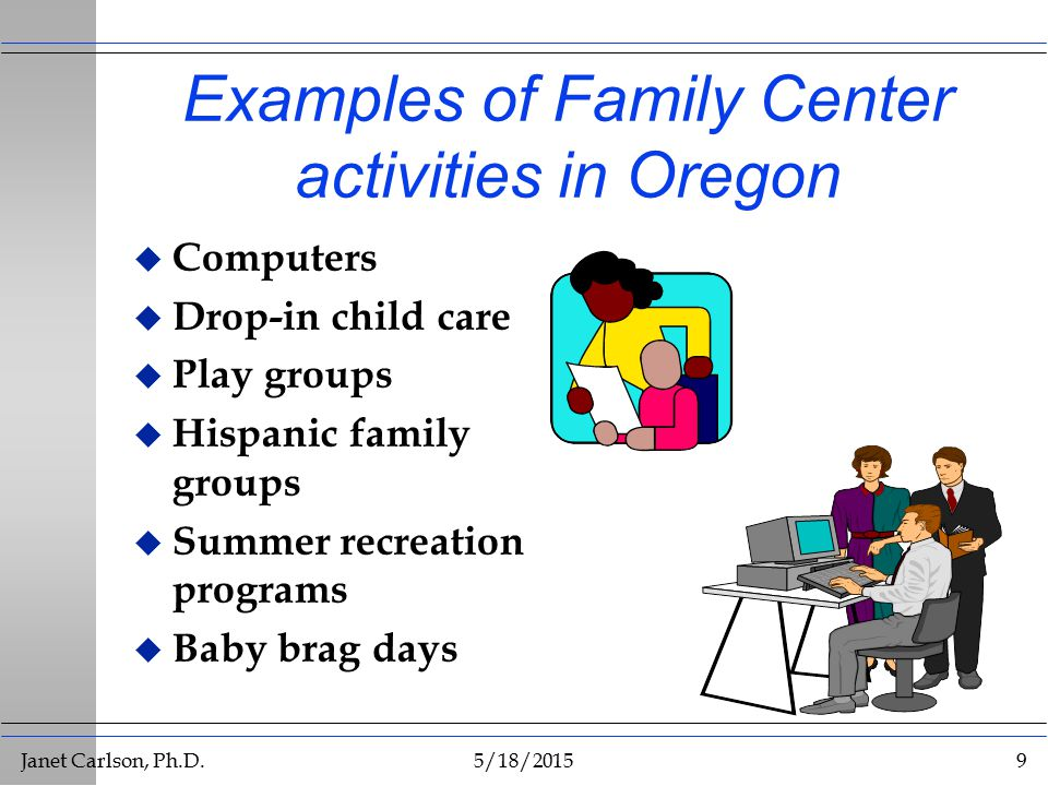 Janet Carlson, Ph.D.5/18/20159 Examples of Family Center activities in Oregon u Computers u Drop-in child care u Play groups u Hispanic family groups u Summer recreation programs u Baby brag days