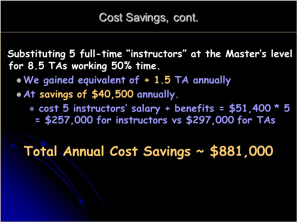 Cost Savings, cont.