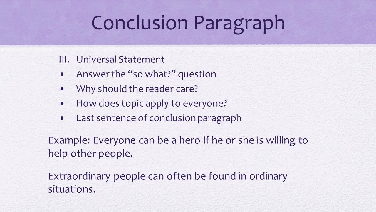 Writing a conclusion paragraph?