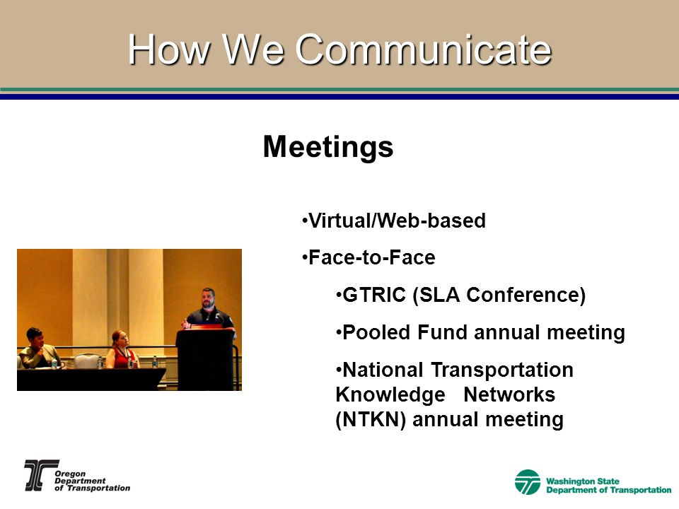 How We Communicate Virtual/Web-based Face-to-Face GTRIC (SLA Conference) Pooled Fund annual meeting National Transportation Knowledge Networks (NTKN) annual meeting Meetings