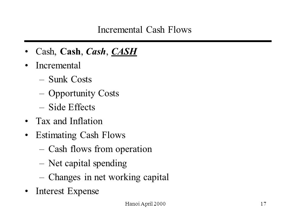 Hanoi April Incremental Cash Flows Cash, Cash, Cash, CASH Incremental –Sunk Costs –Opportunity Costs –Side Effects Tax and Inflation Estimating Cash Flows –Cash flows from operation –Net capital spending –Changes in net working capital Interest Expense