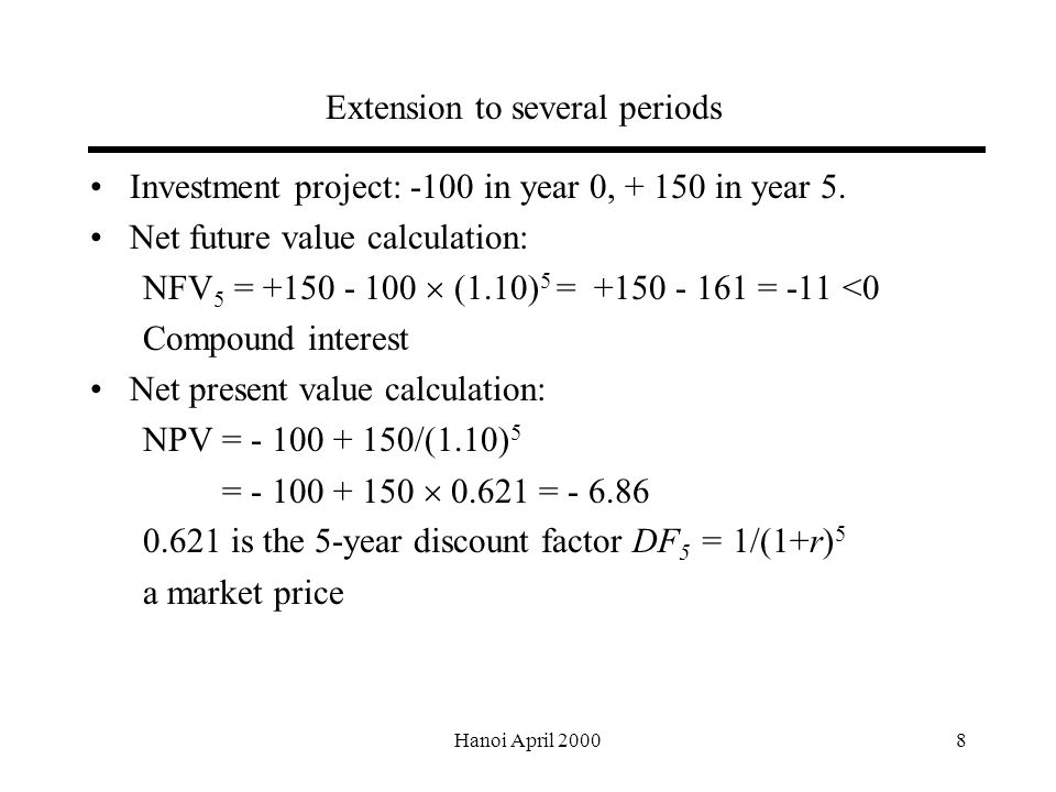 Hanoi April Extension to several periods Investment project: -100 in year 0, in year 5.