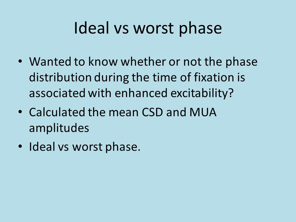 Ideal vs worst phase Wanted to know whether or not the phase distribution during the time of fixation is associated with enhanced excitability.