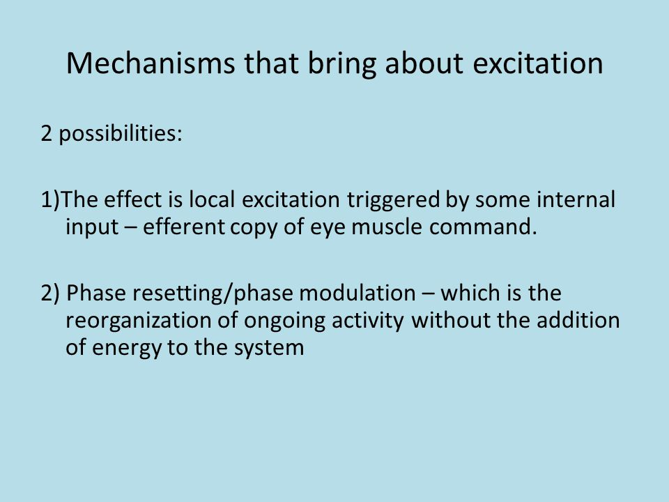 Mechanisms that bring about excitation 2 possibilities: 1)The effect is local excitation triggered by some internal input – efferent copy of eye muscle command.