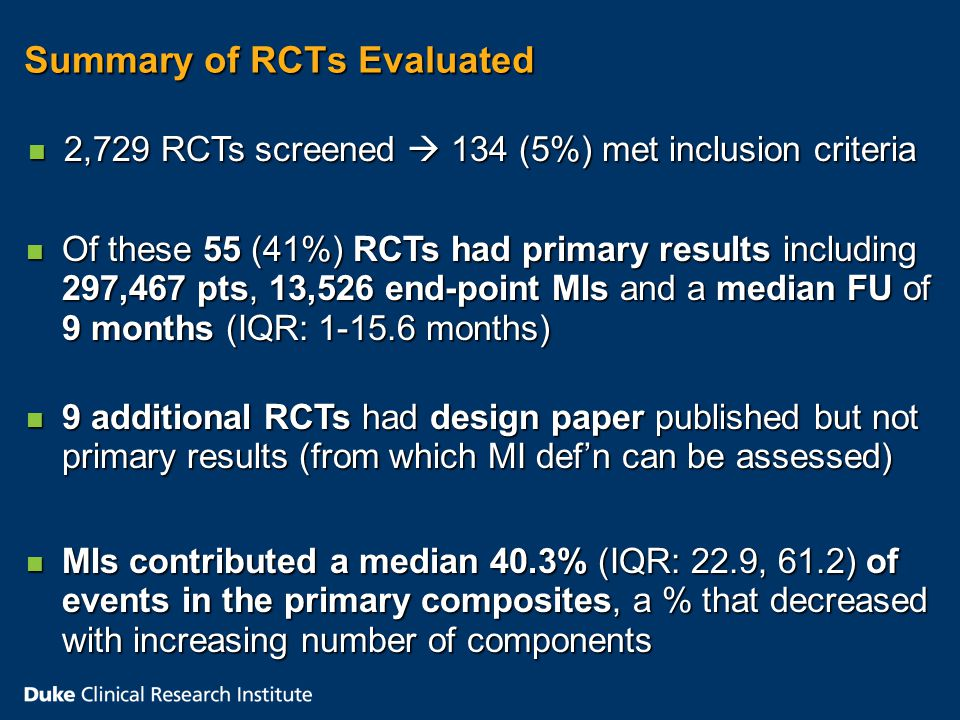 Summary of RCTs Evaluated n 2,729 RCTs screened  134 (5%) met inclusion criteria n Of these 55 (41%) RCTs had primary results including 297,467 pts, 13,526 end-point MIs and a median FU of 9 months (IQR: months) n 9 additional RCTs had design paper published but not primary results (from which MI def'n can be assessed) n MIs contributed a median 40.3% (IQR: 22.9, 61.2) of events in the primary composites, a % that decreased with increasing number of components