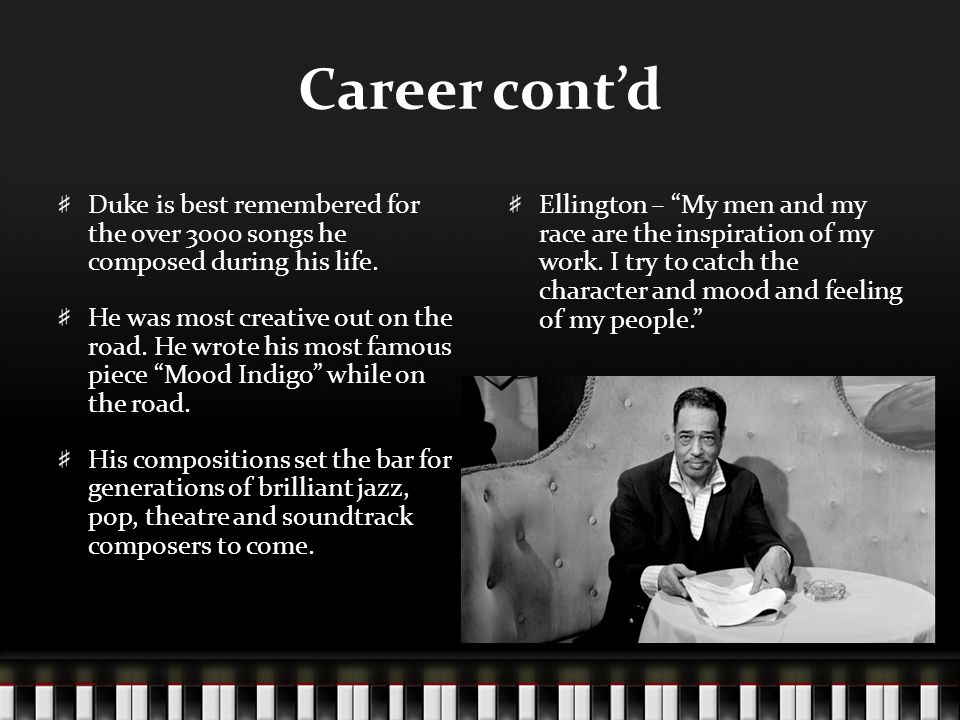 Career cont'd Duke is best remembered for the over 3000 songs he composed during his life.
