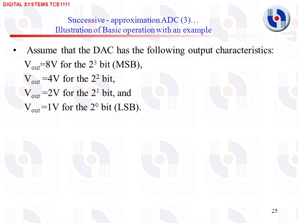 DIGITAL SYSTEMS TCE Successive - approximation ADC (3)… Illustration of Basic operation with an example Assume that the DAC has the following output characteristics: V out =8V for the 2 3 bit (MSB), V out =4V for the 2 2 bit, V out =2V for the 2 1 bit, and V out =1V for the 2 0 bit (LSB).