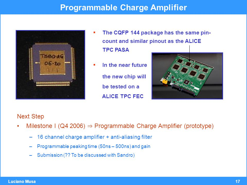 17 Luciano Musa Programmable Charge Amplifier  The CQFP 144 package has the same pin- count and similar pinout as the ALICE TPC PASA  In the near future the new chip will be tested on a ALICE TPC FEC Next Step Milestone I (Q4 2006) ⇒ Programmable Charge Amplifier (prototype) –16 channel charge amplifier + anti-aliasing filter –Programmable peaking time (50ns – 500ns) and gain –Submission ( .