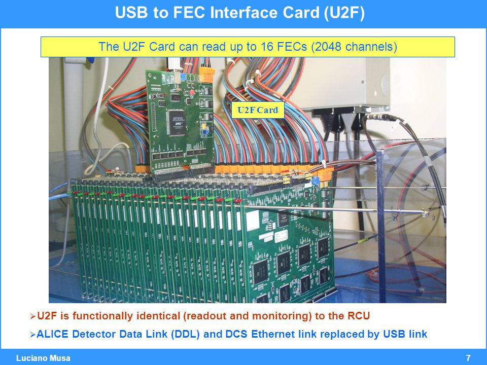 7 Luciano Musa USB to FEC Interface Card (U2F) The U2F Card can read up to 16 FECs (2048 channels) U2F Card  U2F is functionally identical (readout and monitoring) to the RCU  ALICE Detector Data Link (DDL) and DCS Ethernet link replaced by USB link