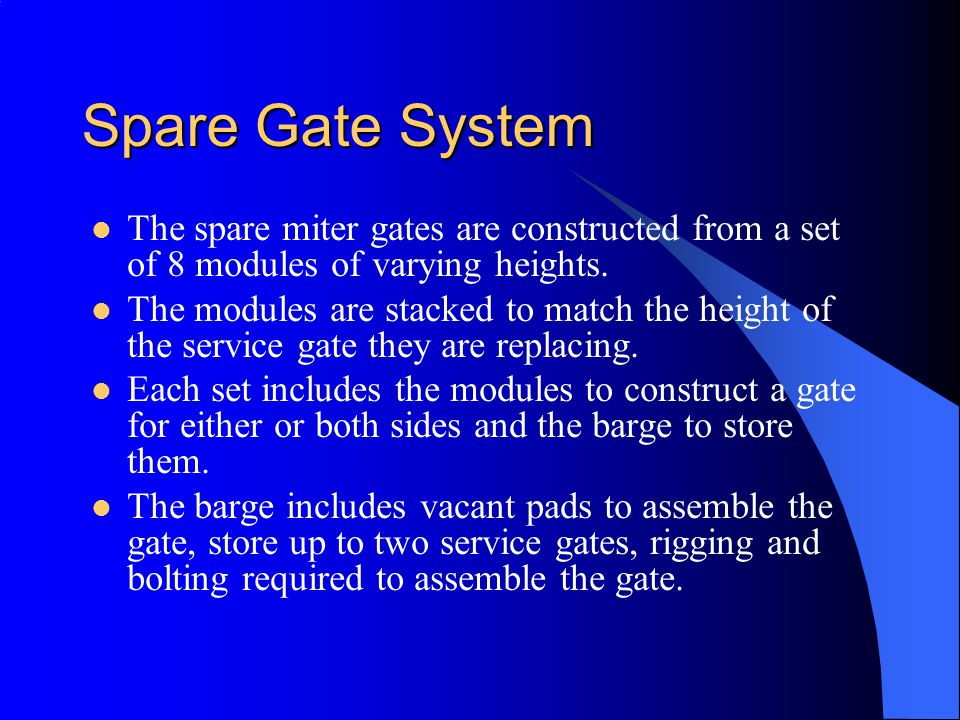 Spare Gate System The spare miter gates are constructed from a set of 8 modules of varying heights.