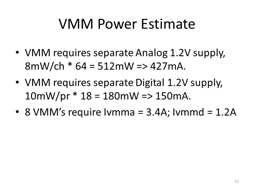VMM requires separate Analog 1.2V supply, 8mW/ch * 64 = 512mW => 427mA.