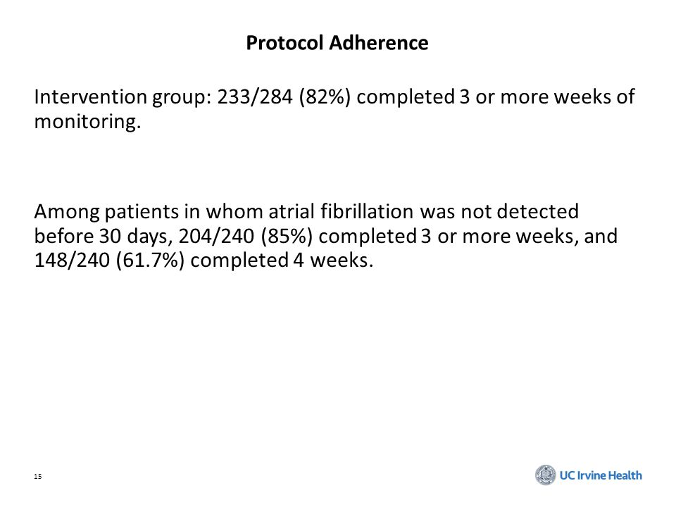 15 Protocol Adherence Intervention group: 233/284 (82%) completed 3 or more weeks of monitoring.