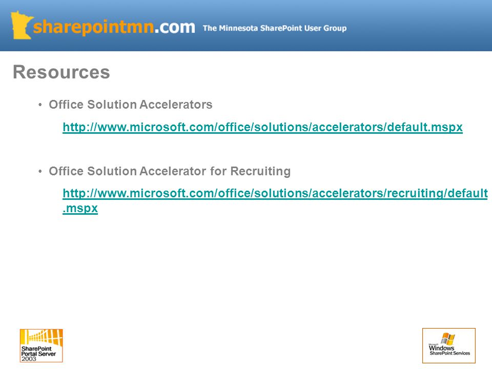Office Solution Accelerators   Office Solution Accelerator for Recruiting   Resources