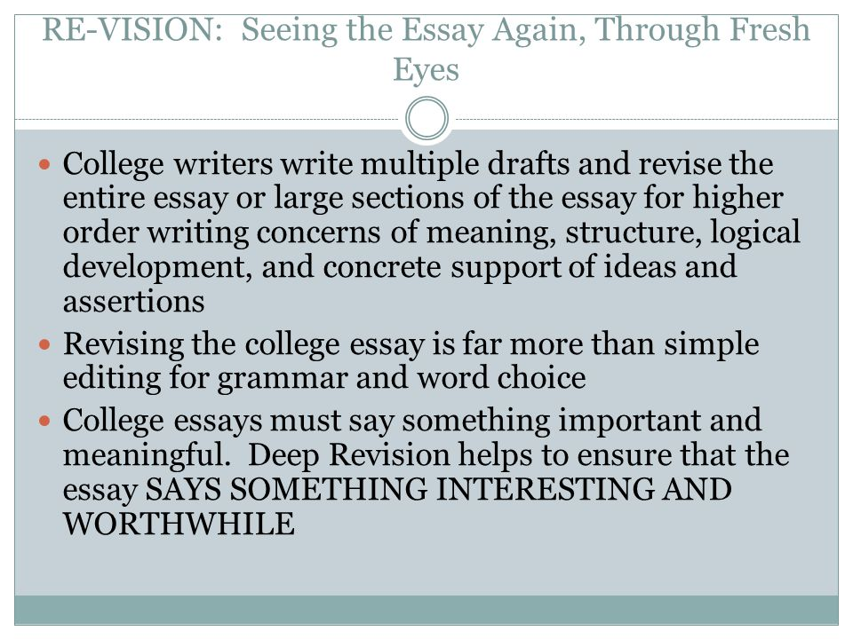 writing is revising revising the college essay prepared by dr amy re vision seeing the essay again through fresh eyes college writers write multiple