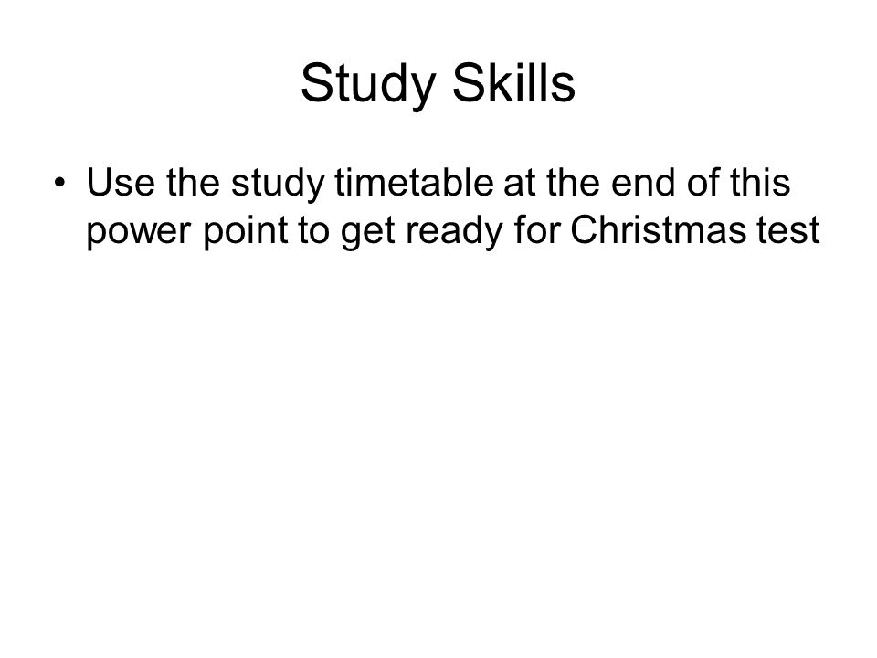Study Skills Use The Study Timetable At The End Of This Power