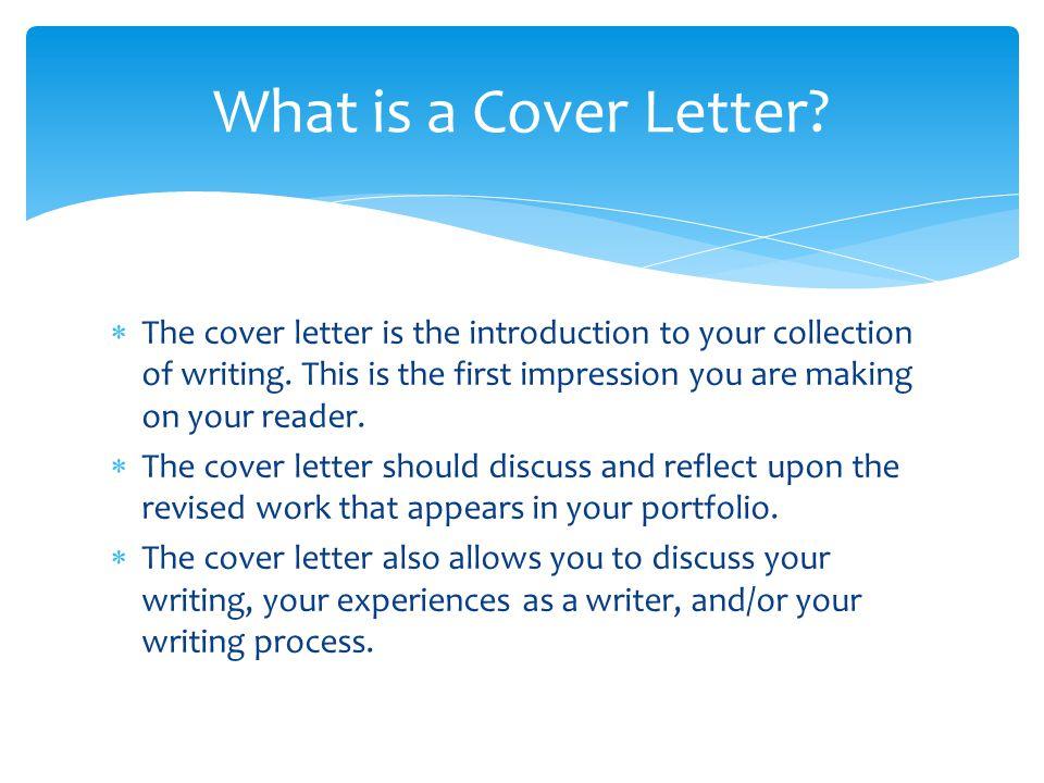 Preparing Your Portfolio: Cover Letter Part of the Gavilan Writing ...