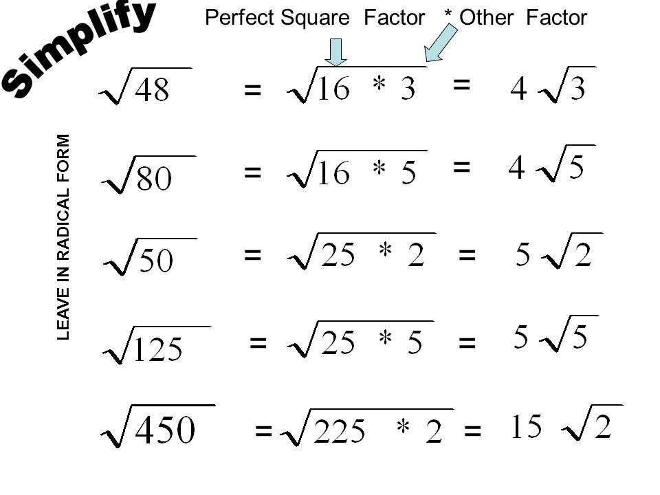 Simplifying, Multiplying, & Rationalizing Radicals Homework ...
