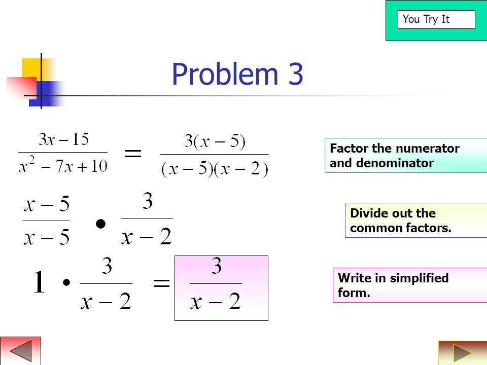 Problem 3 Factor the numerator and denominator Divide out the common factors.