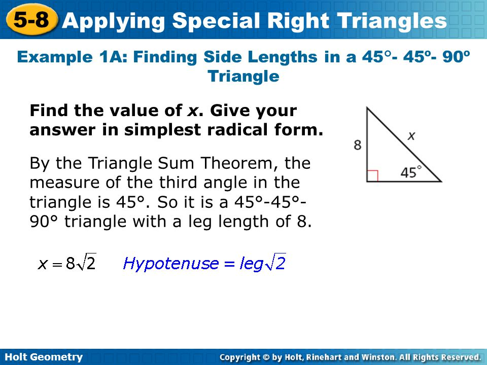 Objectives Justify and apply properties of 45 45 90 triangles – Holt Geometry Worksheet Answers