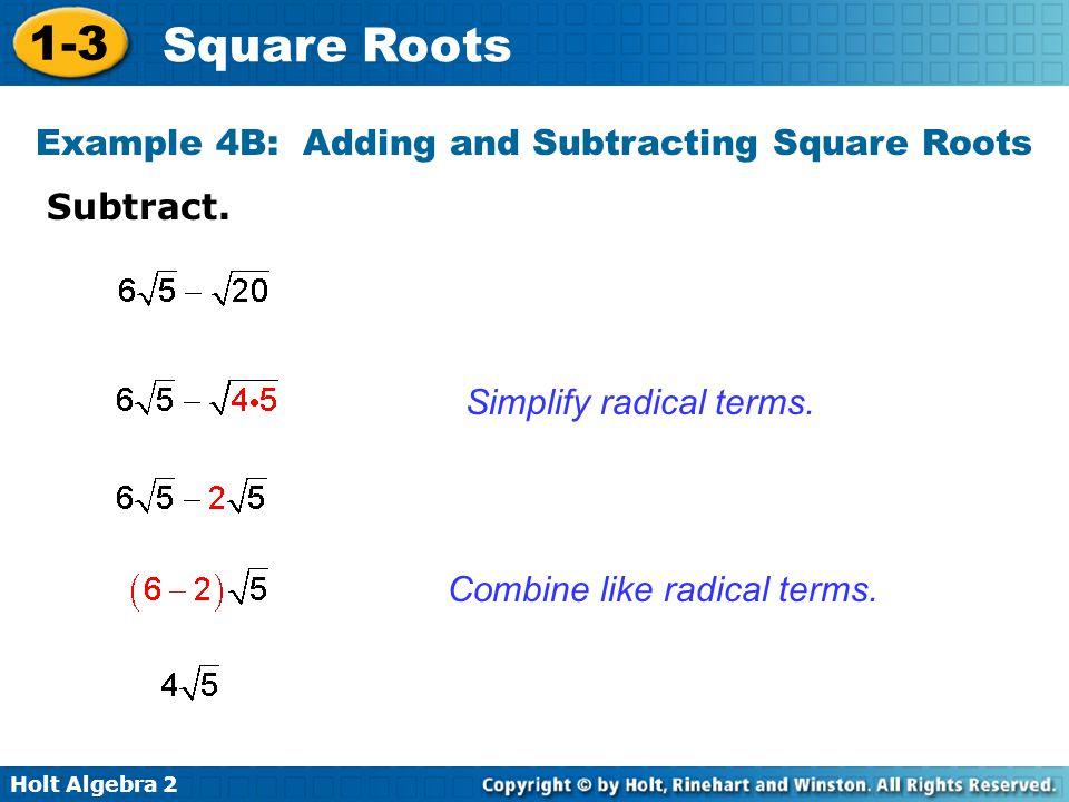 Holt Algebra Square Roots 1-3 Square Roots Holt Algebra 2 Warm Up ...