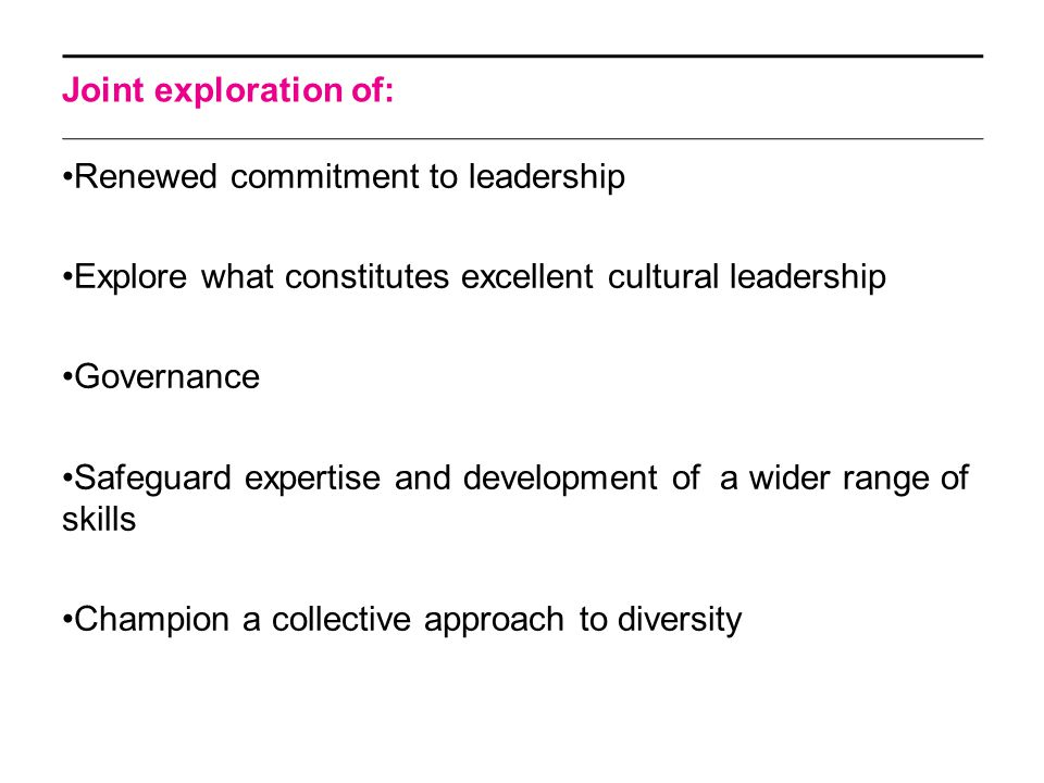 Joint exploration of: Renewed commitment to leadership Explore what constitutes excellent cultural leadership Governance Safeguard expertise and development of a wider range of skills Champion a collective approach to diversity