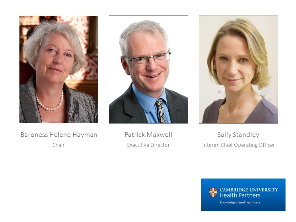 Patrick Maxwell Executive Director Sally Standley Interim Chief Operating Officer Baroness Helene Hayman Chair