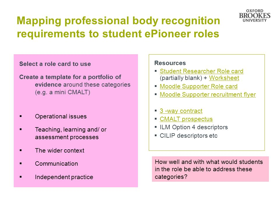 Mapping professional body recognition requirements to student ePioneer roles Select a role card to use Create a template for a portfolio of evidence around these categories (e.g.