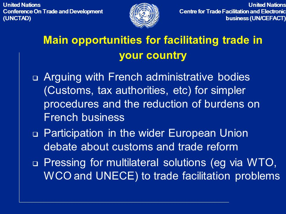 the united nations conference on trade and development essay The united nations conference on trade and development was established to provide a forum where the developing countries could discuss the problems relating to their economic development.