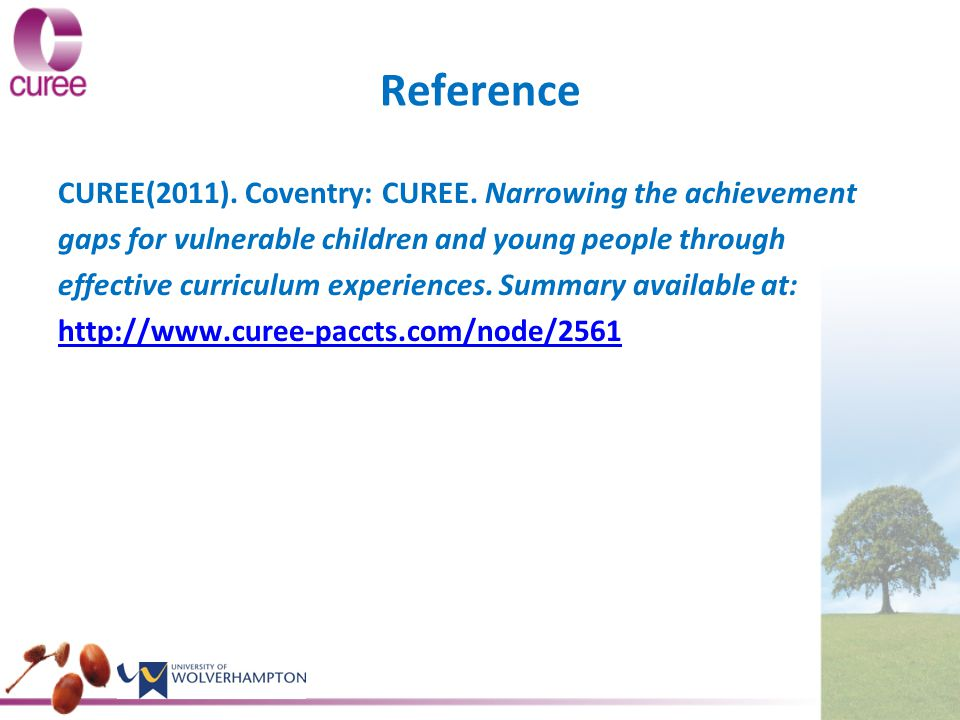 Reference CUREE(2011). Coventry: CUREE.