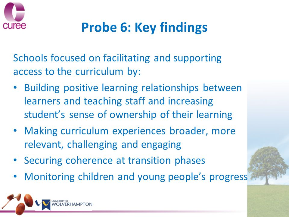 Probe 6: Key findings Schools focused on facilitating and supporting access to the curriculum by: Building positive learning relationships between learners and teaching staff and increasing student's sense of ownership of their learning Making curriculum experiences broader, more relevant, challenging and engaging Securing coherence at transition phases Monitoring children and young people's progress
