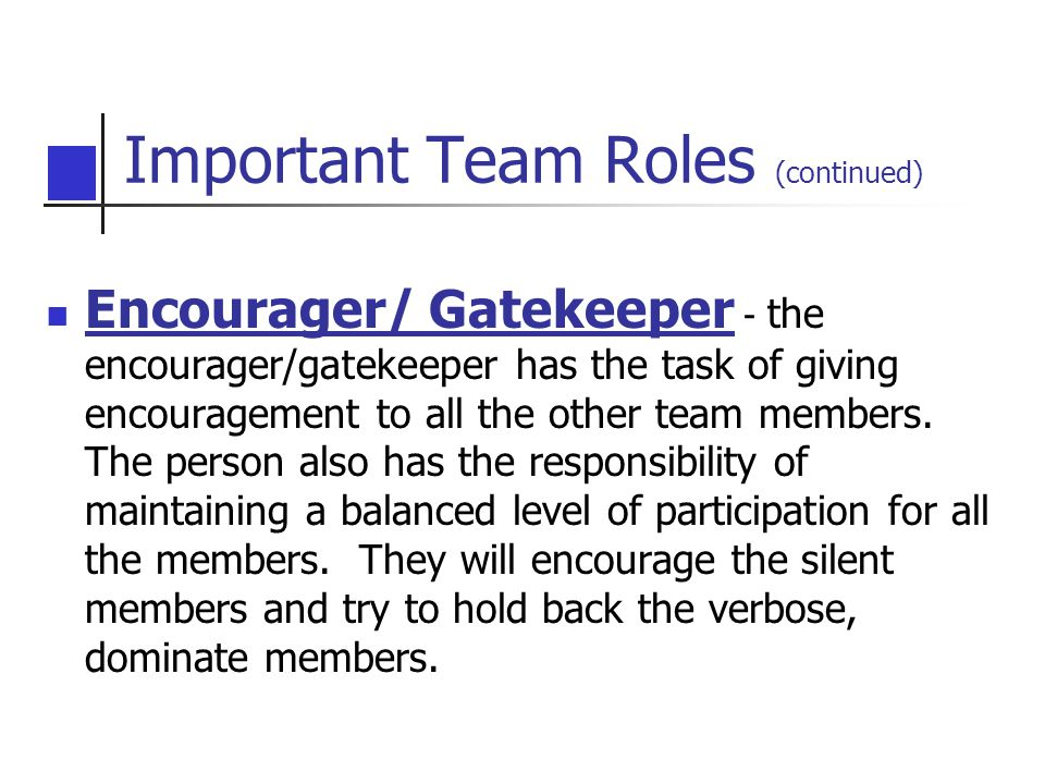 Important Team Roles (continued) Encourager/ Gatekeeper - the encourager/gatekeeper has the task of giving encouragement to all the other team members.
