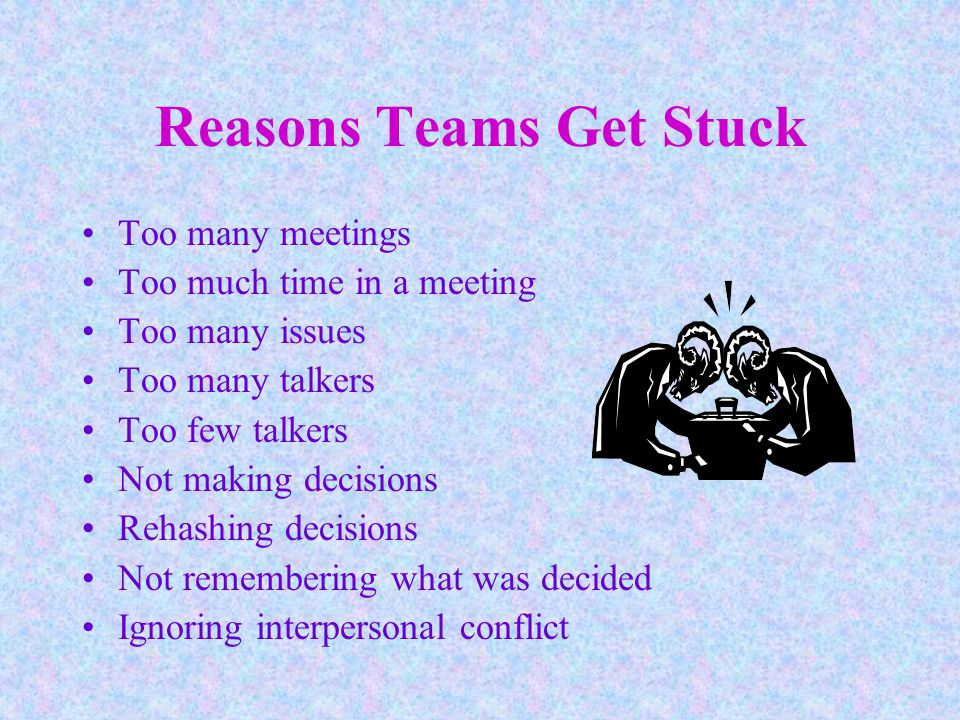 Reasons Teams Get Stuck Too many meetings Too much time in a meeting Too many issues Too many talkers Too few talkers Not making decisions Rehashing decisions Not remembering what was decided Ignoring interpersonal conflict