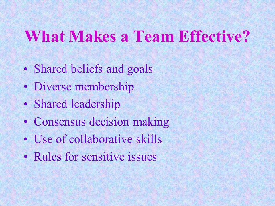 What Makes a Team Effective.