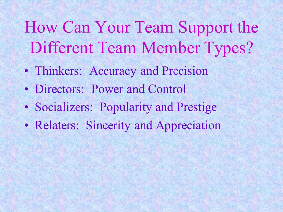 How Can Your Team Support the Different Team Member Types.