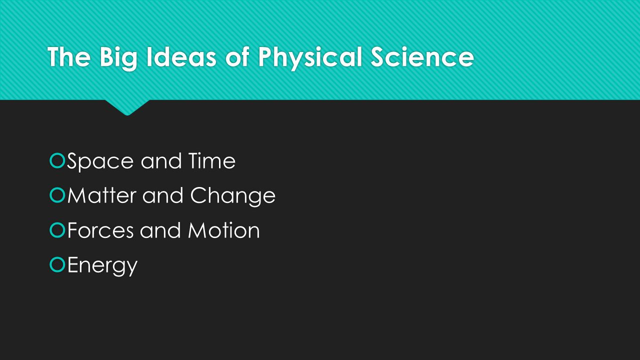 The Big Ideas of Physical Science  Space and Time  Matter and Change  Forces and Motion  Energy  Space and Time  Matter and Change  Forces and Motion  Energy
