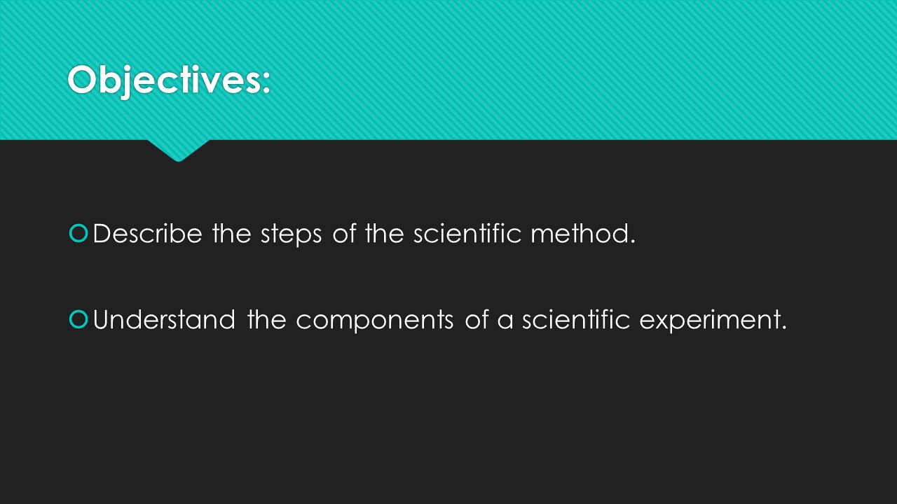 Objectives:  Describe the steps of the scientific method.