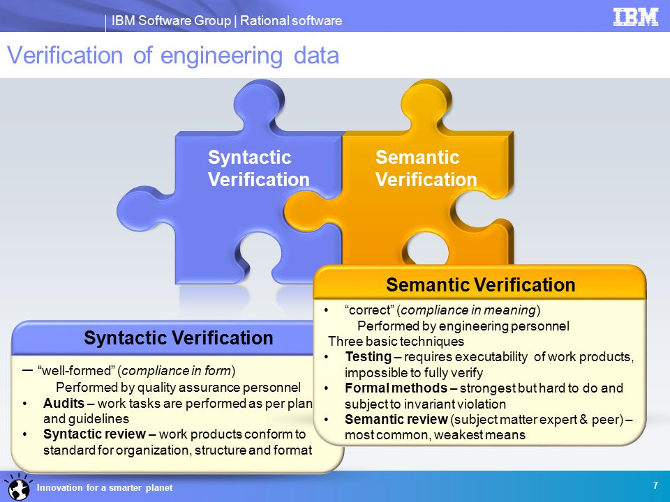 IBM Software Group | Rational software Innovation for a smarter planet Syntactic Verification Semantic Verification Syntactic Verification – well-formed (compliance in form) Performed by quality assurance personnel Audits – work tasks are performed as per plan and guidelines Syntactic review – work products conform to standard for organization, structure and format Verification of engineering data Semantic Verification correct (compliance in meaning) Performed by engineering personnel Three basic techniques Testing – requires executability of work products, impossible to fully verify Formal methods – strongest but hard to do and subject to invariant violation Semantic review (subject matter expert & peer) – most common, weakest means 7