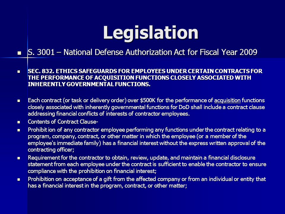 Legislation S – National Defense Authorization Act for Fiscal Year 2009 S.