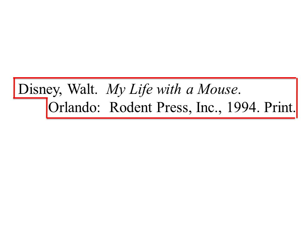 Disney, Walt. My Life with a Mouse. Orlando: Rodent Press, Inc., Print.