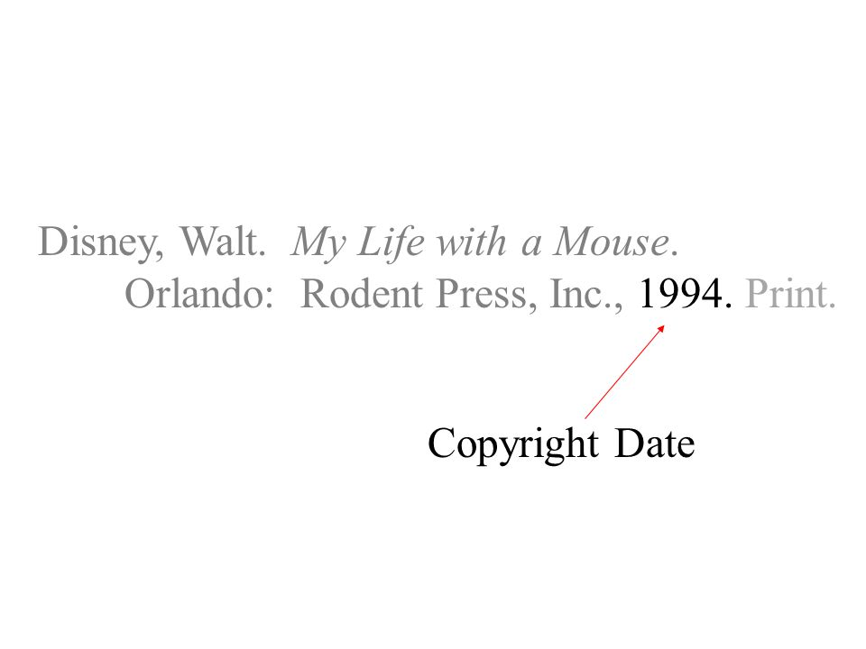 Disney, Walt. My Life with a Mouse. Orlando: Rodent Press, Inc., Print. Copyright Date