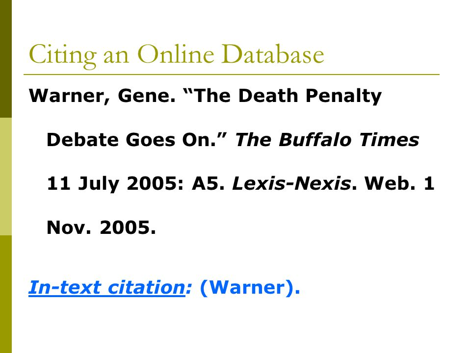 Citing an Online Database Warner, Gene.