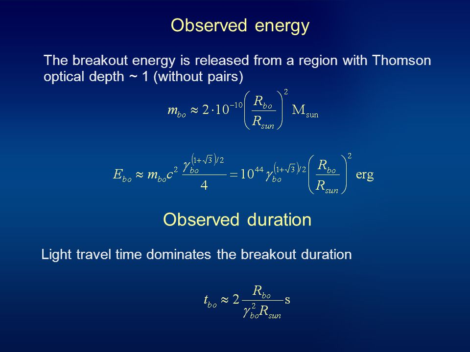 Observed energy The breakout energy is released from a region with Thomson optical depth ~ 1 (without pairs) Observed duration Light travel time dominates the breakout duration