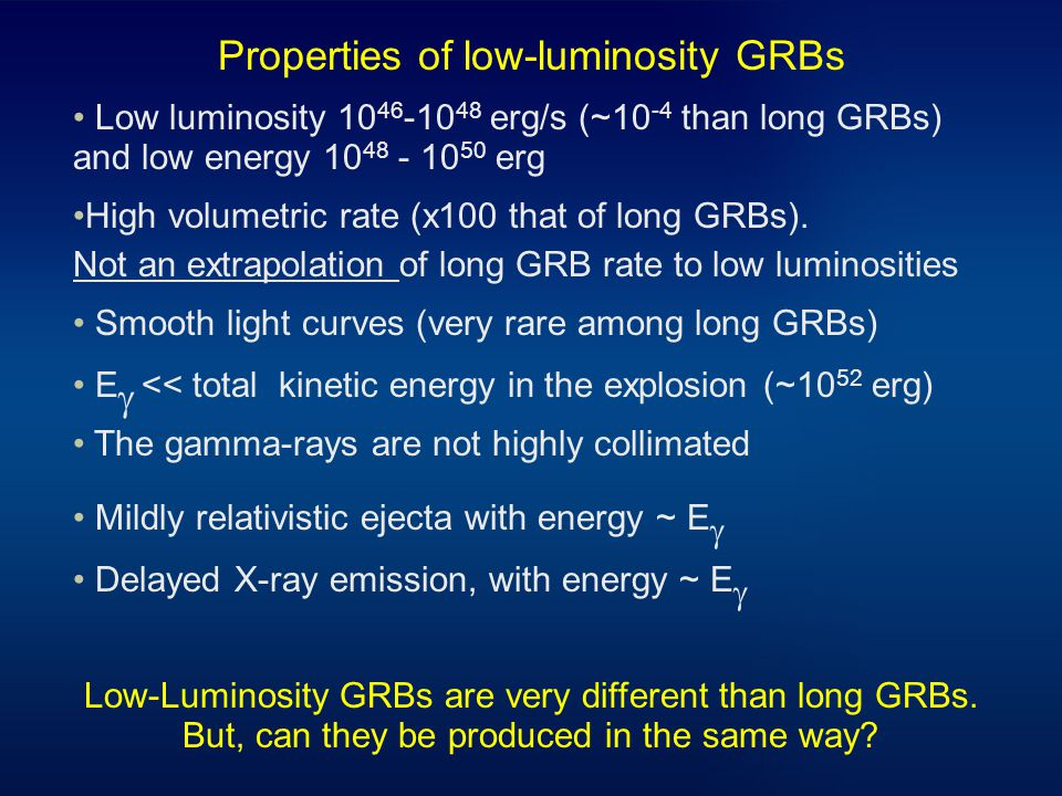 Properties of low-luminosity GRBs Low luminosity erg/s (~10 -4 than long GRBs) and low energy erg High volumetric rate (x100 that of long GRBs).