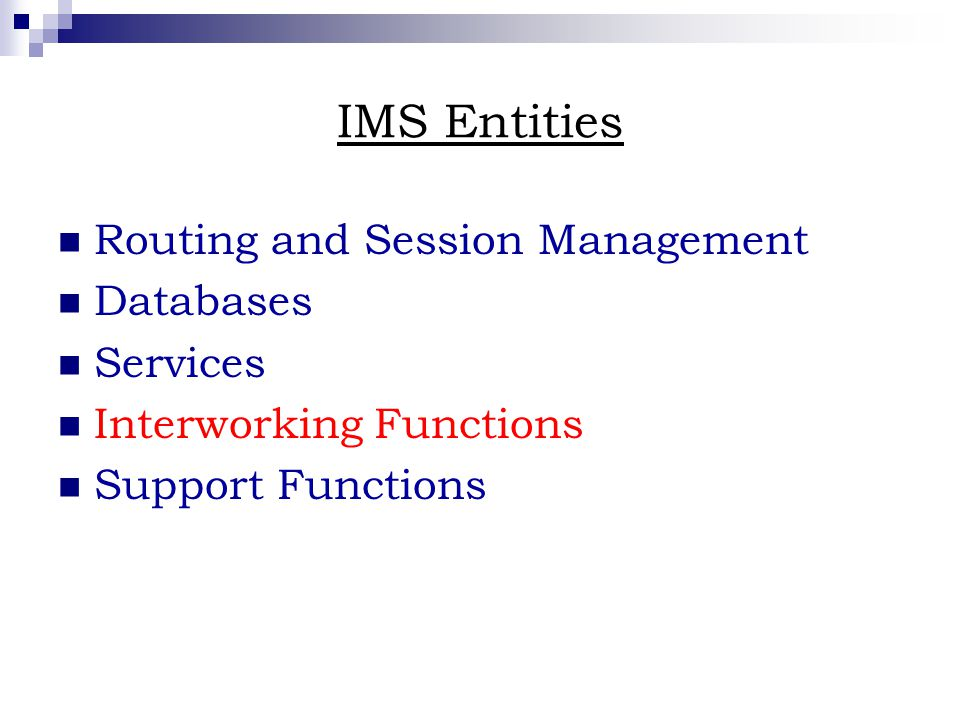 IMS Entities Routing and Session Management Databases Services Interworking Functions Support Functions