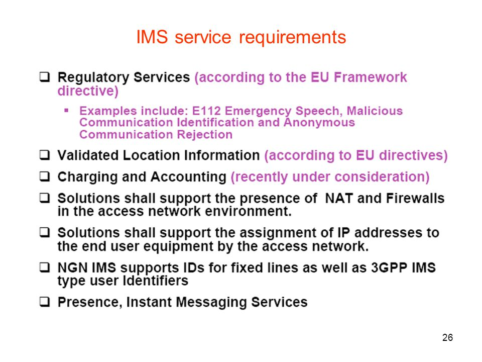 26 IMS service requirements